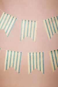 BHLDN Blue White Seaside Striped Paper Pennants Wedding Shower Reception Decor