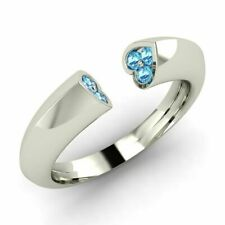 Wedding Band Ring in 14k White Gold Certified 0.11 Ctw Natural Blue Topaz Heart