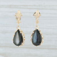 Black Mother of Pearl Teardrop Earrings 14k Yellow Gold Dangle Pear Solitaire