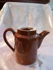 Hall Coffee Tea Pot Chocolate Brown White Single Serve Lidded Usa