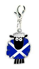Scottish Saltire Flag Cartoon Sheep Clip On Charm Gift Bracelet Necklace