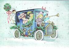 Vintge XMAS Card HOLIDAY DECORATED ANTIQUE CAR w CUTE KIDS w BUNNY RABBITS,BIRDS