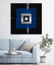 Original Abstracto Metal Cuadro Diseño Moderno Mural Negro Azul Plata Único