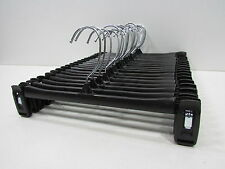 "Lot of 50 Black Plastic Adult Clothes Hangers 12"" for pants skirt pinch grip"