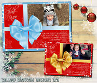 10 Present Christmas Cards Thank You Gold Red Blue Boy Girl Cute Modern Photo