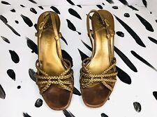 Gold Broze Cole Haan Cork Wedges with braided leather upper Sz8.5 shoes heels
