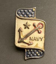 US NAVY Lapel Pin WWII USN Relief Society Screw Back Vintage 1940s Genuine