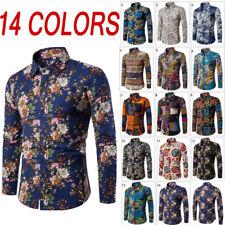 Men Long Sleeve Casual Shirts Floral Formal Dress Business T Shirt Slim Shirt