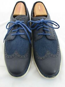 Mens Cole Haan Blue Wingtip Leather Basket Weave Fashion Sneakers Size 11.5 M
