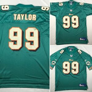 MIAMI DOLPHINS #99 JASON TAYLOR REEBOK jersey MENS XL NFL teal orange