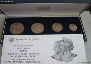 JERSEY 4 Coins 1972 Silver UNC Set 25th Anniversary Royal Wedding
