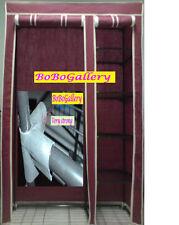 Brand New Portable Steel tube Canvas Wardrobe (Burgundy)