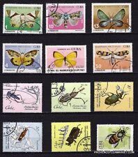 83T3 Pays des caraibes  12 timbres obliteres: papillons et insectes