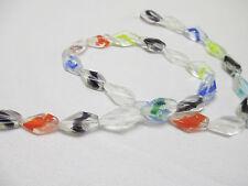 DIAMOND Swirl Beads GLOW in the DARK - Strand of 26 Glass 16mm Rave Raver Kandi