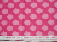 BAKED WITH LOVE, Lt Pink on Dk Pink Cupcakes, Robert Kaufman Fabric, 1 yard