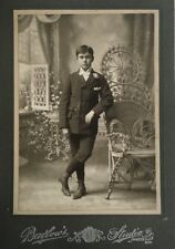 Antique Photo Handsome Young Man Victorian Era Boy Barlow's Studio Janesville Wi