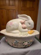 Pfaltzgraff Tea Rose Bunny Covered Casserole Dish 1.5 Quart. Ex.Condition