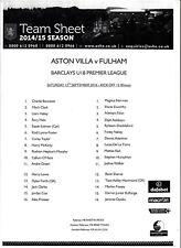 Teamsheet-ASTON VILLA U18 V Fulham U18 2014/15