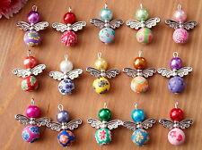 15x Handmade Angel Fairy Charms Pendants Clay Flower Beads COLOURS MAY VARY