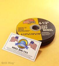 """Drill Hog 4-1/2 Cut Off Wheel 4.5"""" Cutoff Blade Metal Steel Angle Grinder 10Pc"""