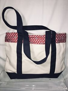 Vineyard Vines Custom Collection Fox News Canvas Tote Bag White Red Navy
