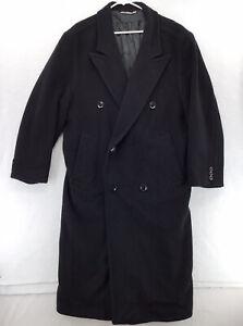 BOSS Hugo Boss Overcoat Mens 38R Black Virgin Wool Mid-Length Trench Coat