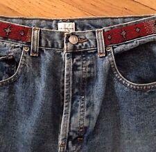 Vintage Calvin Klein Denim Jeans Southwest Beaded Trim on Waist/Pockets sz 11