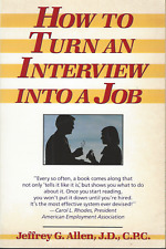 How to Turn an Interview into a Job by Jeffrey G. Allen 1983 Paperback GOOD!