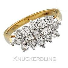 Baguette Engagement Natural Yellow Gold Fine Diamond Rings
