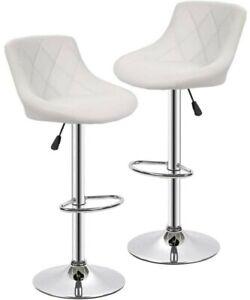Set of 2 Bar Stools White PU Leather Modern swivel Dinning Chair