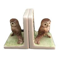 Vintage OMC Japan Ceramic Owl Figurine Bookends