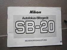 NIKON SB-20-BLITZGERÄT- BEDIENUNGSANLEITUNG-DEUTSCHE SPRACH-ORIGINAL-TOP ZUSTAND