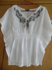 BCX Semi Sheer White Embroidered Boho Tunic Top Size M