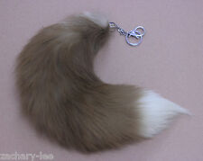 Fashion Real Fox Tail Fur Leather Hair Brown with White Tip Pelt Cosplay Toy