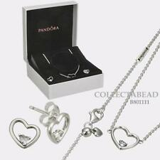 Authentic PANDORA Shape of My Heart Jewelry Necklace Earrings Gift Set B801111