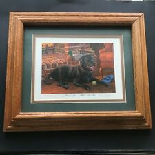 Randy McGovern Wood Framed A Warm Fire Black Labrador Numbered Signed Print
