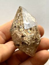 65mm Smokey Skeletal Herkimer Diamond Quartz Crystal, Rainbows, Nice Clarity