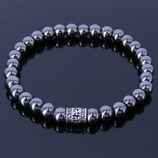 Handmade Gemstone Bracelet Hematite Beads Sterling Silver Marcasite Men Women