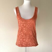 Free People Women's Orange Floral Crochet Mesh Overlay Tank Top Size Large