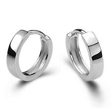 UNISEX GRACEFUL 925 STERLING SILVER SMOOTH ROUND HOOP MEN WOMEN GOOD EARRINGS