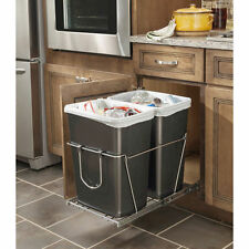 Kitchen Plastic Trash Container Home Waste Garbage Pull Out Can 35-Quart 2 Bins