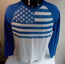 CREMIEUX LS Flag Print T Shirt Blue/Ivory SZ LARGE Cotton