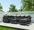 Rattan Garden Furniture 8 Seat Corner Coffee Table Set 2 Ottomans