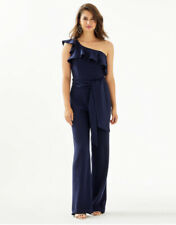 Lilly Pulitzer Lyra One-Shoulder Jumpsuit True Navy Size 14