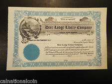 Vintage Unused Deer Lodge Livery Company stock certificate no. 54