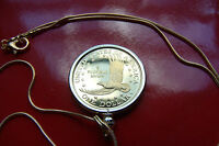 "SACAGAWEA GOLDEN USA Dollar Jewelry Coin Pendant on 24"" Gold Filled Snake Chain"