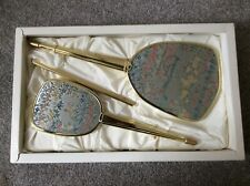 Vintage Ladies Boxed Vanity Set, Mirror, Brush and Comb with Embroidery Detail.