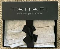 Tahari Womens 100% Cashmere Scarf & Glove Set Light Gray Warm Winter