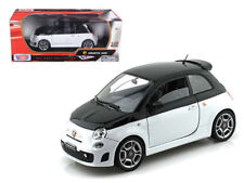 Fiat Abarth 500 White & Black 1/18 Scale Diecast Car Model By Motor Max 79168