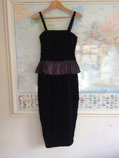 Vintage Laura Ashley Black Velvet Wiggle Dress Size 12 Strappy Cocktail Ball